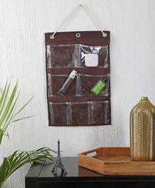 My Gift Booth Wall Hanging Organiser with 7 Pockets - Brown
