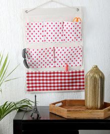 My Gift Booth Wall Hanging Organiser with 7 Pockets Dots Print - Red White