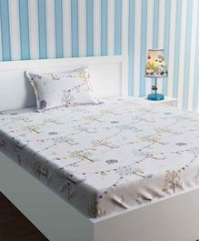 Urban Dream Single Bedsheet with Pillow Cover Tree Print - White