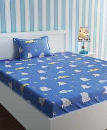 Urban Dream Single Bedsheet with Pillow Cover Car Print - Blue