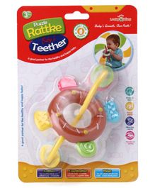 Donut Shaped Baby Rattle Teether - Brown White