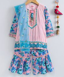Little Bansi Floral Print Full Sleeves Kurta & Sharara With Dupatta - Blue & Pink