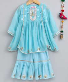 Little Bansi Floral Embroidered Three Fourth Sleeves Kurta & Sharara - Blue