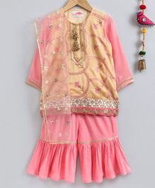 Little Bansi Embroidered Full Sleeves Kurta With Sharara & Dupatta - Peach