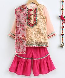 Little Bansi Brocade Full Sleeves Kurta With Sharara & Printed Dupatta - Peach & Pink