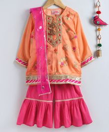 Little Bansi Floral Embroidered Full Sleeves Kurta With Sharara & Dupatta - Orange & Pink