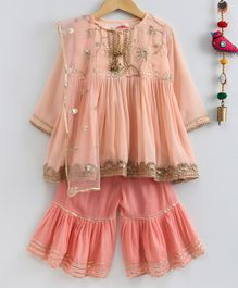 Little Bansi Gota Lace Work Full Sleeves Kurta With Sharara & Dupatta - Peach