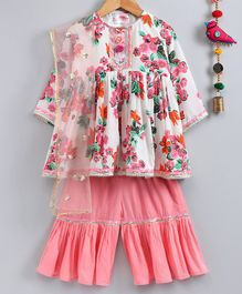 Little Bansi Floral Print Full Sleeves Kurta With Sharara & Dupatta - Peach