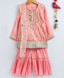 Little Bansi Three Fourth Sleeves Gotta Patti Work Kurta With Garara & Net Dupatta - Peach