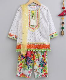 Little Bansi Three Fourth Sleeves Shiffli Kurta With Floral Work Salwar & Dupatta Set - White