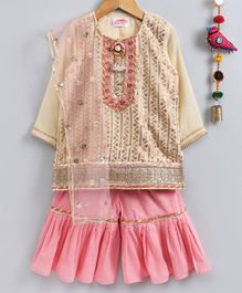 Little Bansi Three Fourth Sleeves Sequinned Kurta With Garara & Net Dupatta Set - Cream & Pink