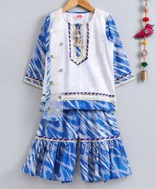 Little Bansi Full Sleeves Kurta With Printed Sharara & Dupatta - White & Blue