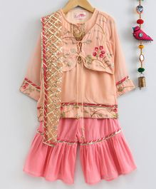Little Bansi Flower Embroidered Full Sleeves Kurta With Attached Jacket & Sharara Dupatta Set - Peach
