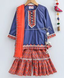 Little Bansi Full Sleeves Camric Kurta With Printed Sharara With Dupatta - Orange & Blue