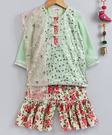 Little Bansi Sequin Embellished Full Sleeves Kurta With Rose Printed Sharara With Dupatta - Green
