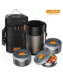 Home Puff Contigo L Lunch Box Stainless Steel Vacuum Insulated with Bag - Grey