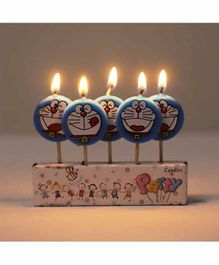 Funcart Doraemon Theme Tooth Pick Candles Blue - 5 Pieces