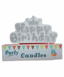 Funcart Happy Birthday Candle Crown Design - Silver