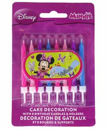 Funcart Minnie Mouse Candles & Holders Pink Blue - 9 Pieces