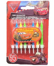 Funcart Pixar Cars Candles & Holders Green Red - 9 Pieces