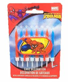 Funcart Spider Man Candles & Holders Pink Red - 9 Pieces