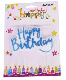 Funcart Happy Birthday Glitter Cake Topper Candle - Blue