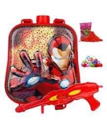 Zest 4 Toyz Iron Man Themed Holi Water Gun with 2.5 Litres Storage Backpack - Red