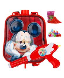 Zest 4 Toyz Mickey Mouse Themed Holi Water Gun with 2.5 Litres Storage Backpack - Red