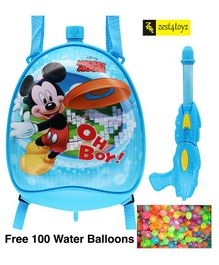 Zest 4 Toyz Mickey Mouse Themed Holi Water Gun with 3.5 Litres Storage Backpack - Blue