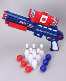 Ping Pong Gun with Balls and Pins Set - Red Blue