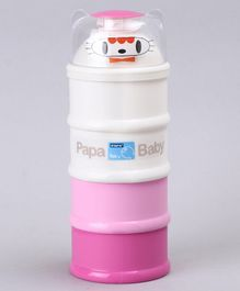 Papa Stackable 4 Compartment Milk Powder Container - White Pink