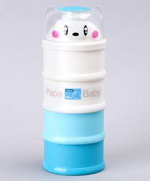 Papa Stackable 4 Compartment Milk Powder Container - White Blue