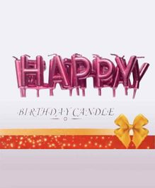 Shopperskart Happy Birthday Letter Candles Pink - Pack of 13 Candles