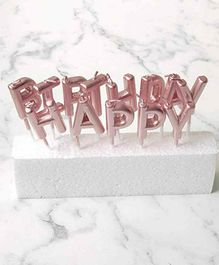 Shopperskart Happy Birthday Letter Candles Rose Gold - Pack of 13 Candles