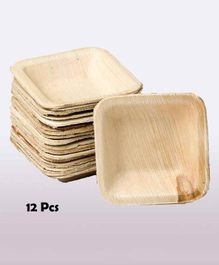 Shopperskart Areca Palm Wood Square Shape Party Bowls - Pack of 12