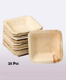 Shopperskart Areca Palm Wood Square Shape Party Bowls - Pack of 25