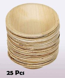Shopperskart Areca Palm Wood Round Shape Party Bowls - Pack of 25
