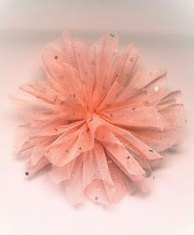 Flying Lollipop Net Flower Hair Clip - Peach