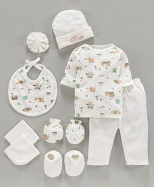 Montaly Clothing Gift Set Teddy Print Cream - 9 Pieces