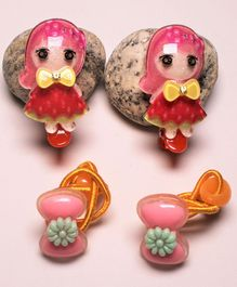 Flying Lollipop Doll Applique 2 Hair Clip & 2 Rubber Bands - Red & Pink