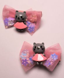 Flying Lollipop Doll Decorated Set Of 2 Hair Clips - Pink & Grey