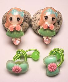 Flying Lollipop Doll Decorated Hair Clips With Bow Detailed Rubber Bands - Green