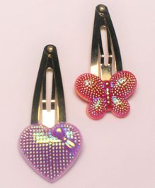Flying Lollipop Heart & Butterfly Detailed Snap Clips - Red Purple