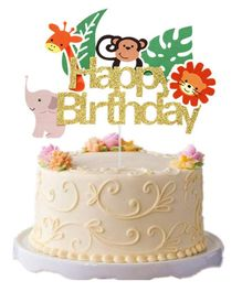 Party Propz Glitter Jungle Themed Birthday Cake Topper - Golden
