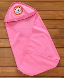 Simply Cotton Hooded Swaddle Wrapper Lion Patch - Pink