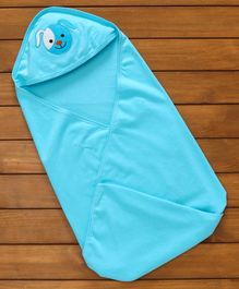 Simply Cotton Hooded Swaddle Wrapper Puppy Patch - Blue