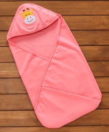 Simply Cotton Hooded Swaddle Wrapper Giraffe Patch - Peach