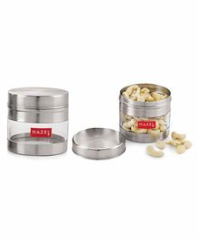 Hazel Stainless Steel Transparent Container Set of 2 Silver - 300 ml each