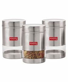 Hazel Stainless Steel Transparent Container Set of 3 Silver - 600 ml each