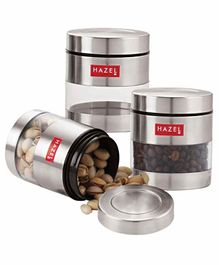Hazel Stainless Steel Transparent Container Set of 3 Silver - 400 ml each